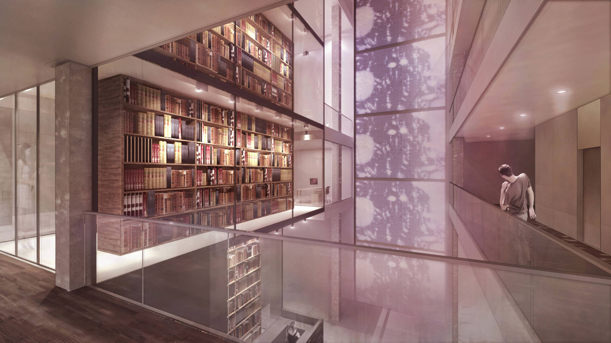 Video installation on the Bible Atrium of the American Bible Society project located at the Upper West Side, New York City designed by the architecture studio Danny Forster & Architecture