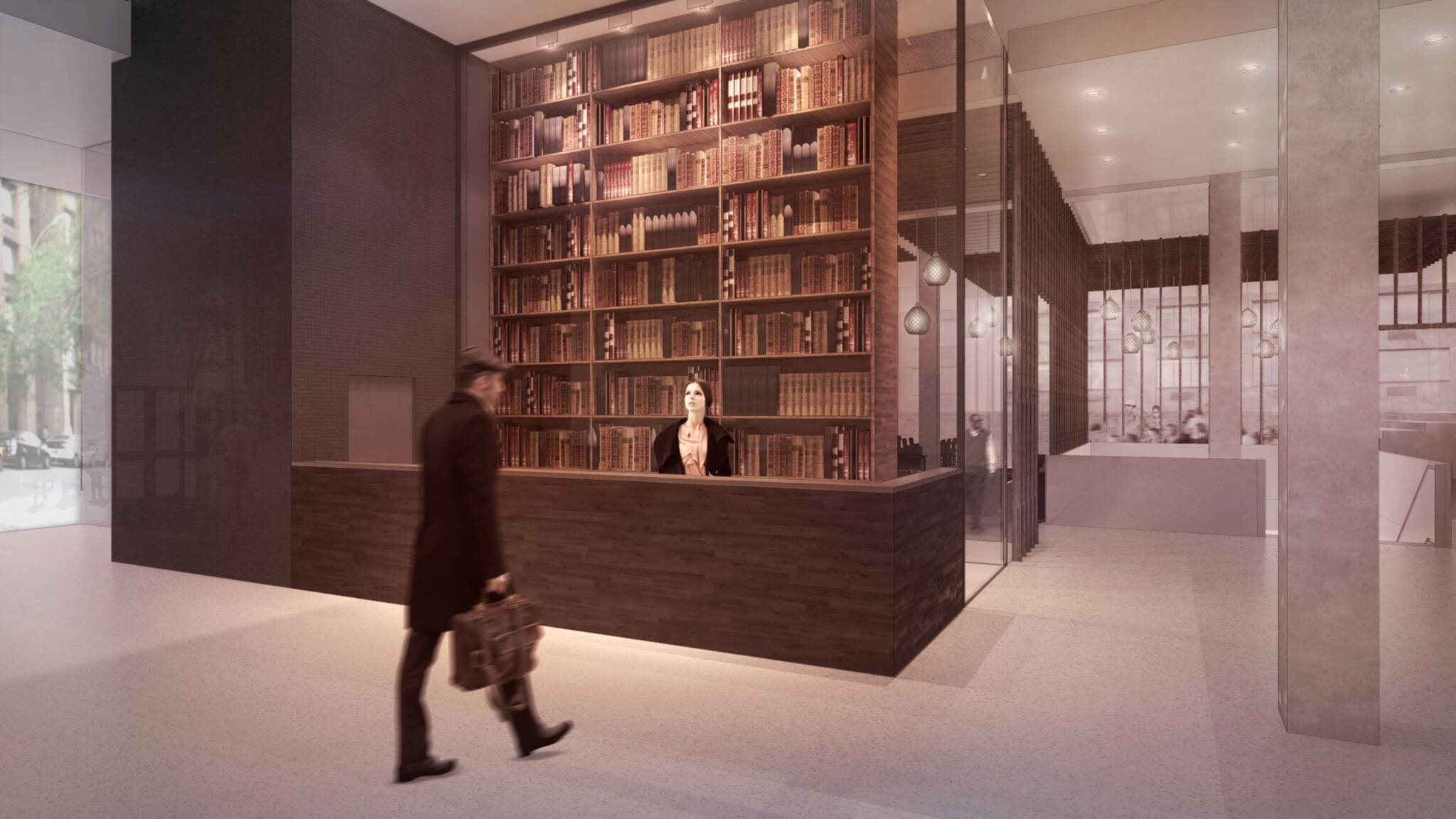 Front desk of the American Bible Society project located at the Upper West Side, New York City designed by the architecture studio Danny Forster & Architecture