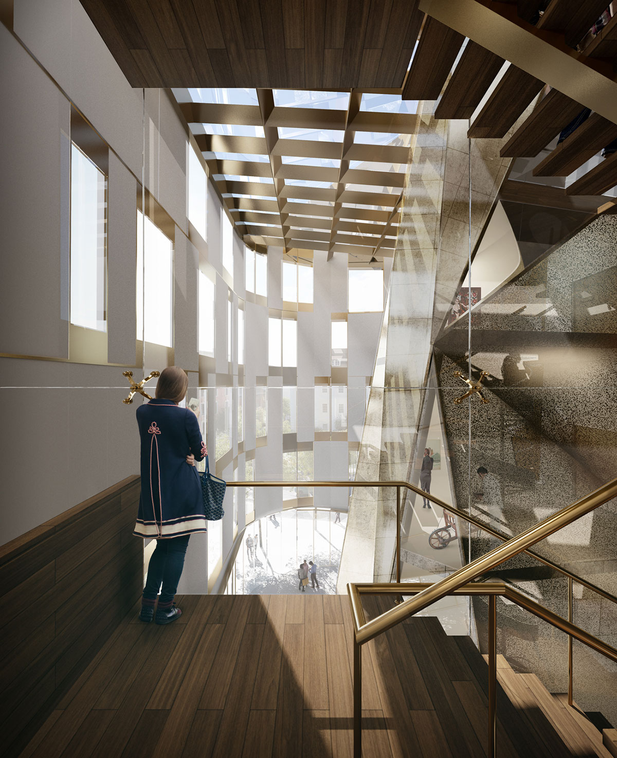 Atrium of the Museum of Etnography project located in Budapest, Hungary designed by the architecture studio Danny Forster & Architecture