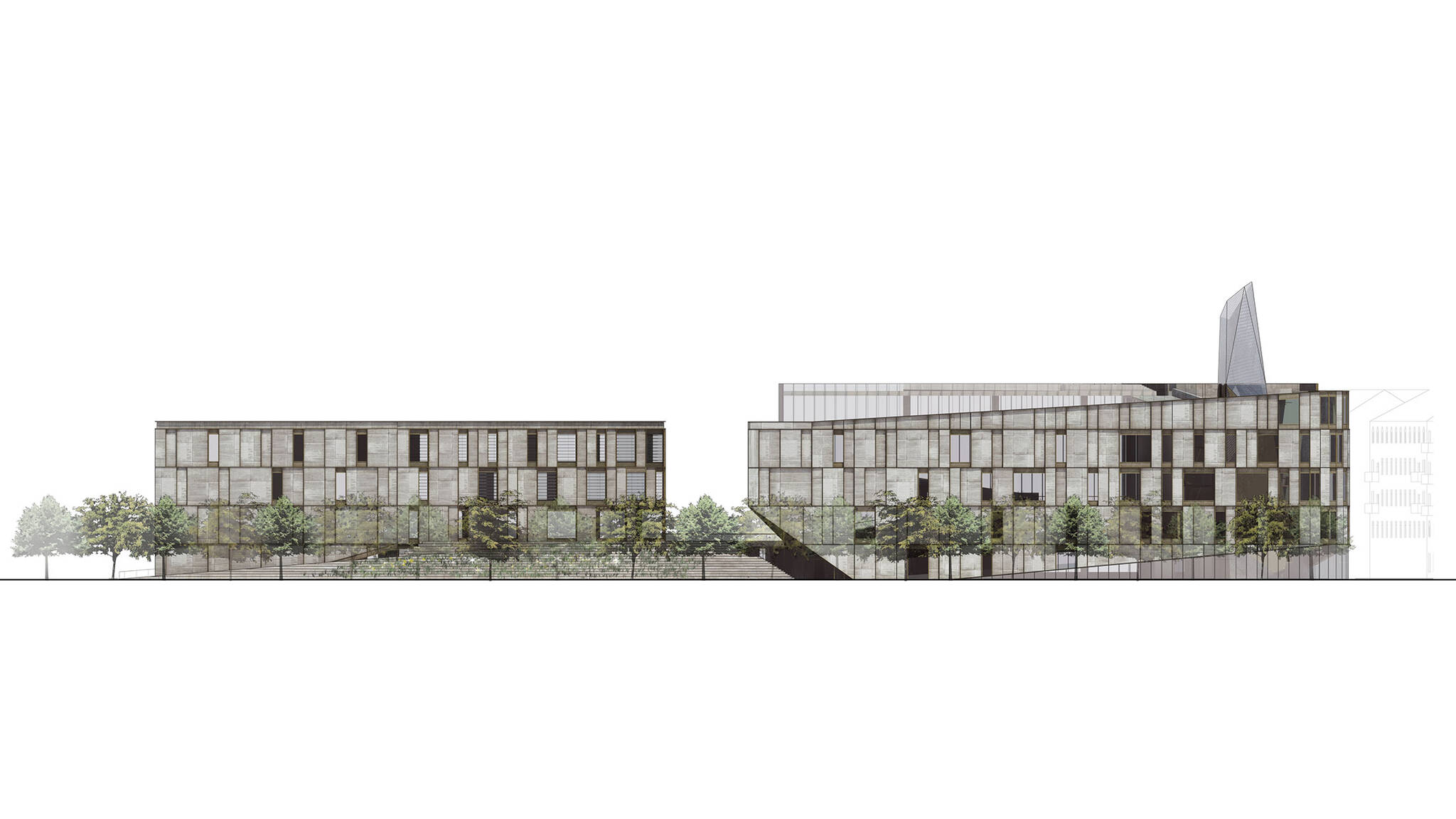 Front elevation of the Museum of Etnography project located in Budapest, Hungary designed by the architecture studio Danny Forster & Architecture