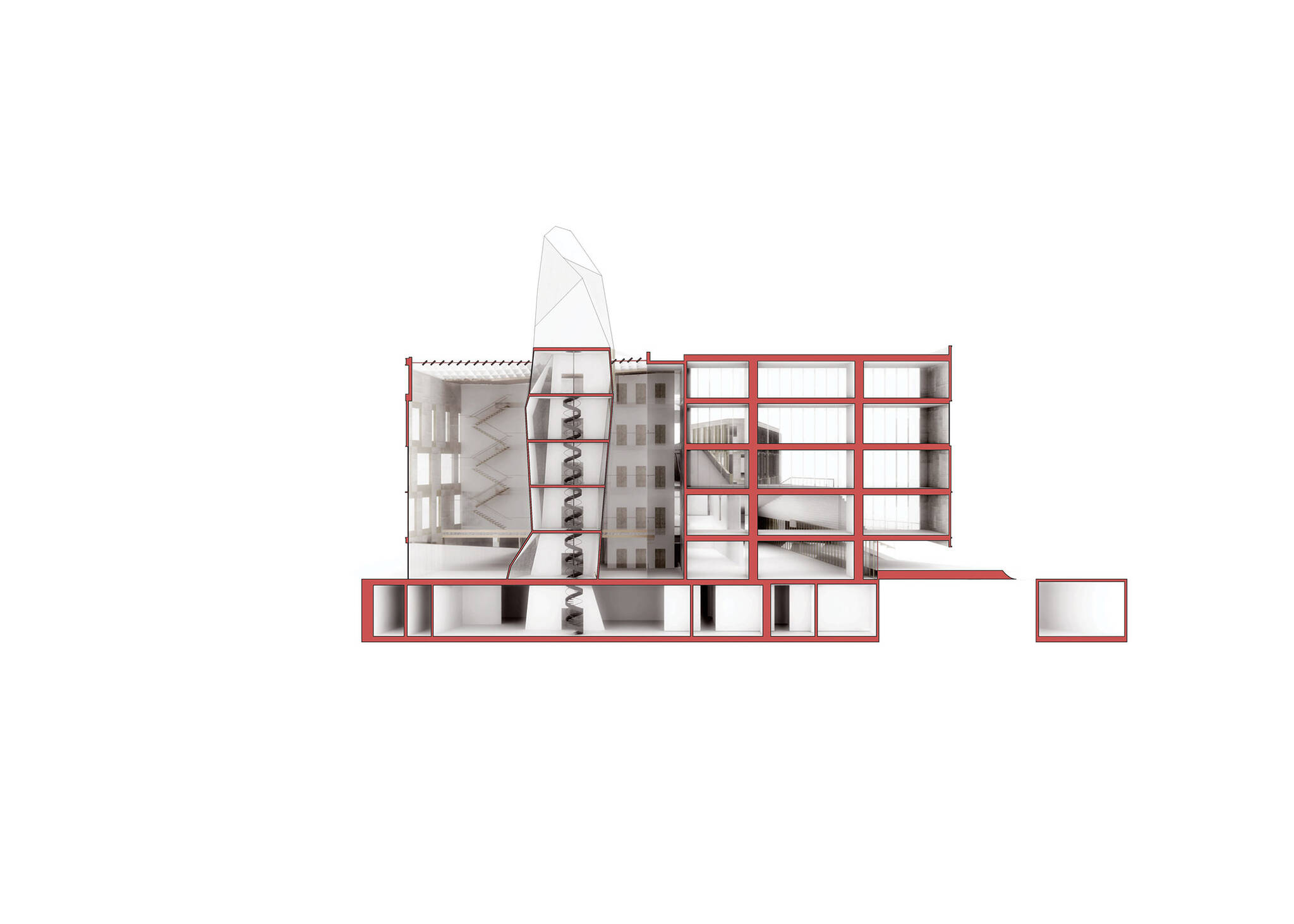 Short section of the Museum of Etnography project located in Budapest, Hungary designed by the architecture studio Danny Forster & Architecture