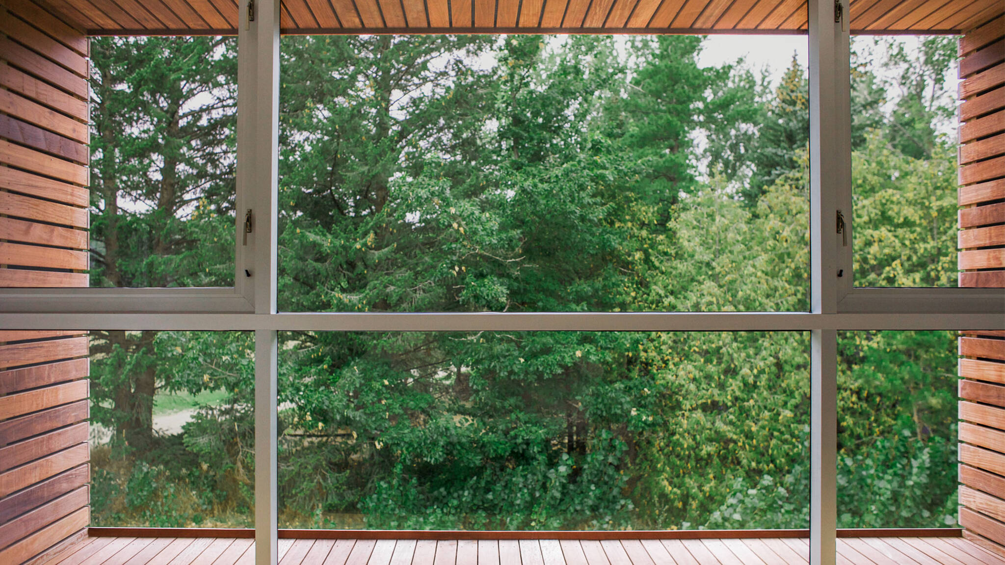 Framed window of the sustainable lake house project in Omena, Michigan designed by the architecture studio Danny Forster & Architecture