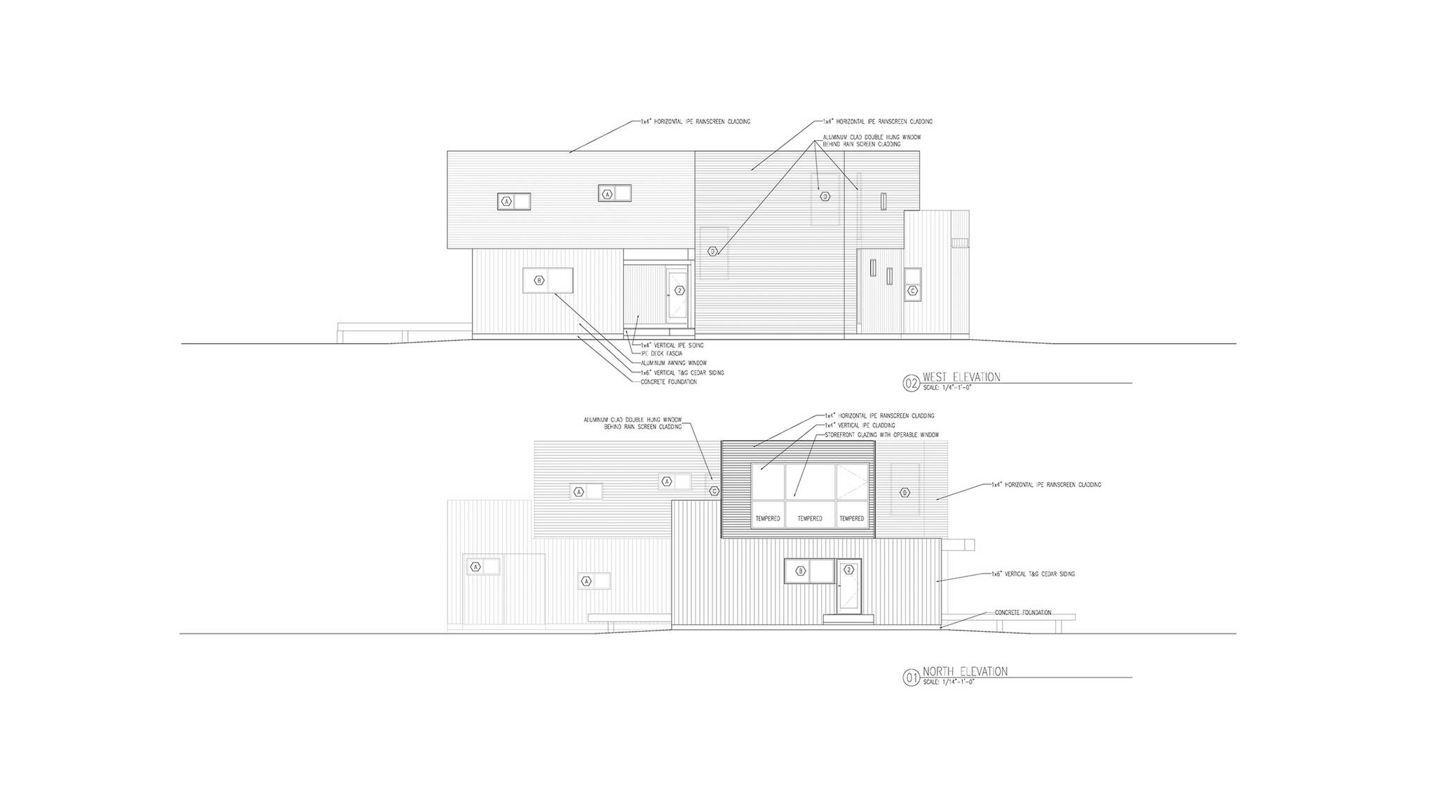 North and West elevation of the sustainable lake house project in Omena, Michigan designed by the architecture studio Danny Forster & Architecture