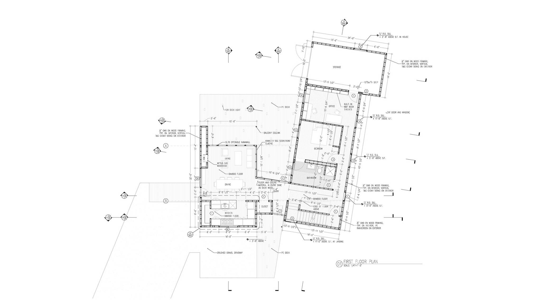 First floor plan of the sustainable lake house project in Omena, Michigan designed by the architecture studio Danny Forster & Architecture