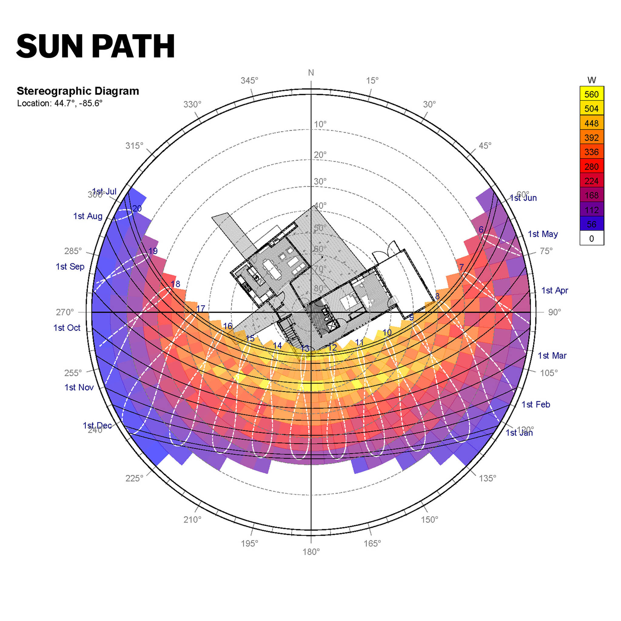 Stereographic diagram of the sun path on the sustainable lake house project in Omena, Michigan designed by the architecture studio Danny Forster & Architecture
