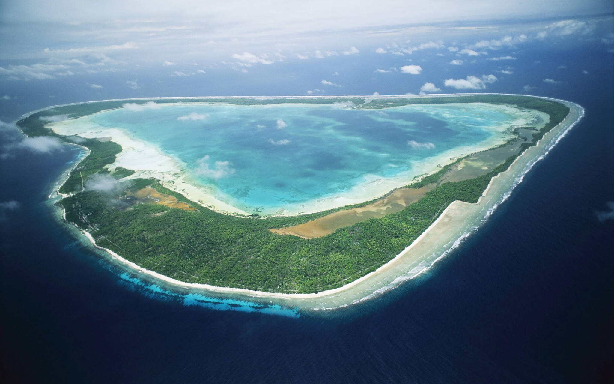 Aerial view of the Aldabra atoll in the Seychelles archipelago