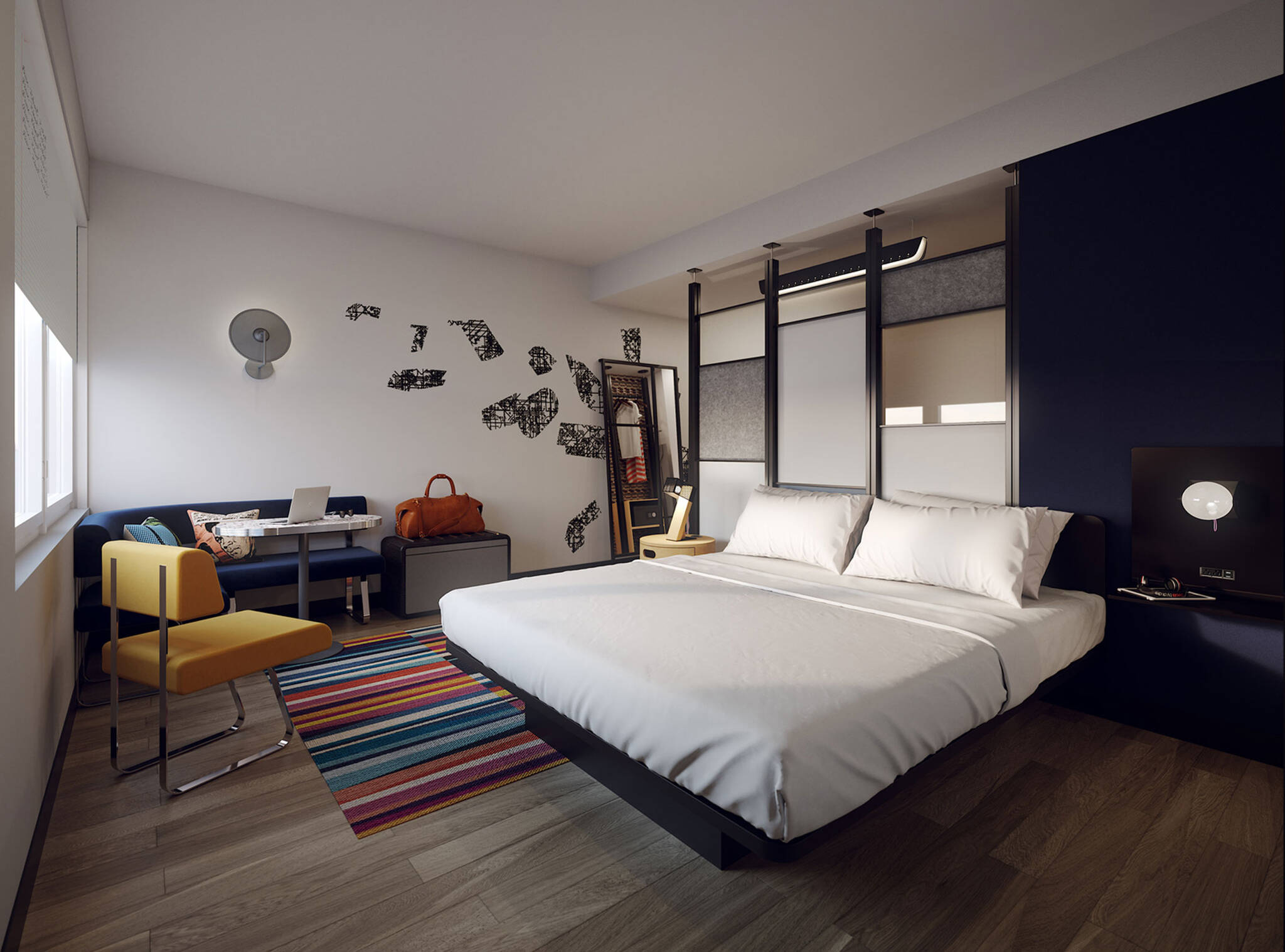 Guestroom of the Aloft hotel in the Dallas Alpha West mixed-use complex project located in Dallas, Texas designed by the architecture studio Danny Forster & Architecture