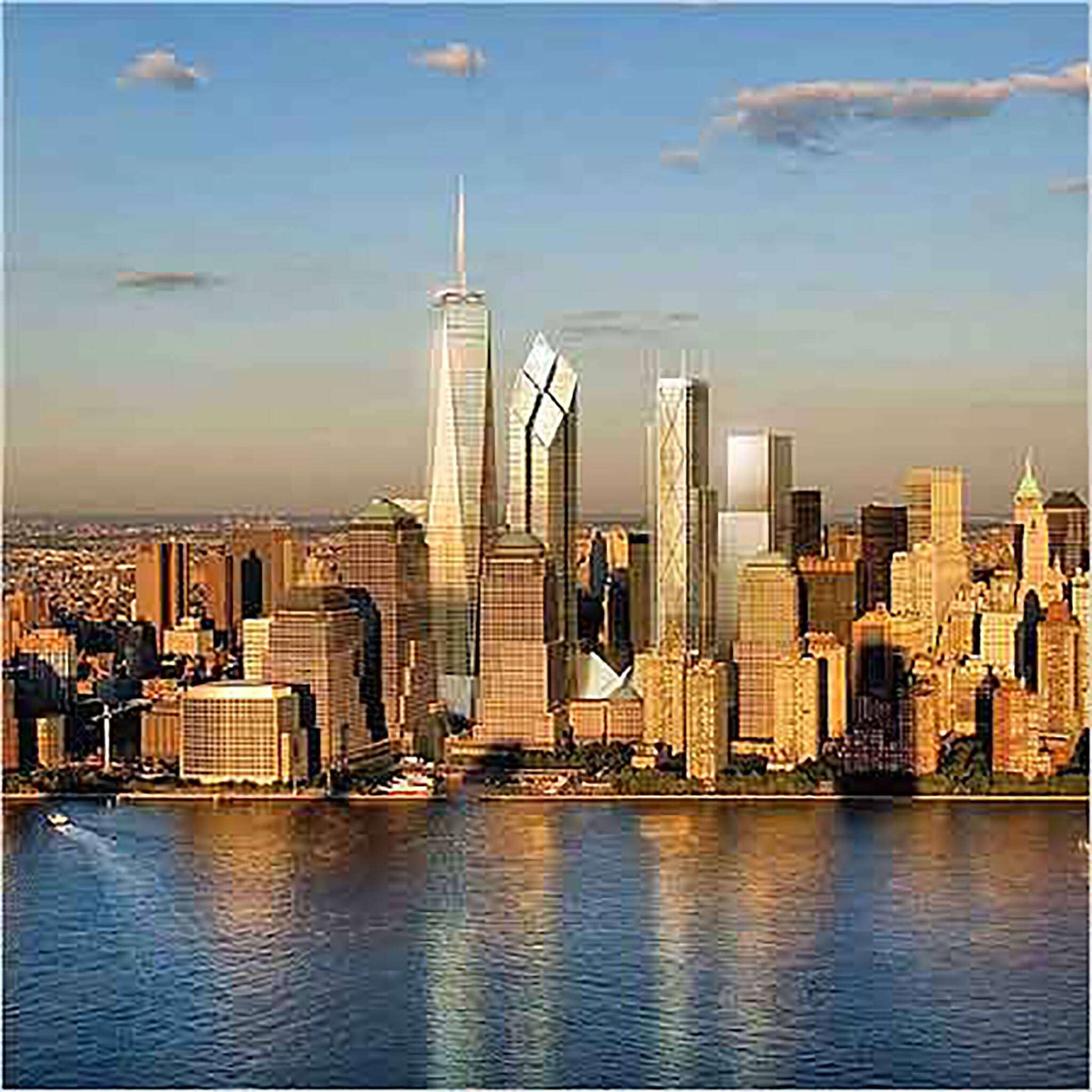Aerial view of the new skyline of Lower Manhattan for the Rising: Rebuilding Ground Zero documentary Co-produced by Danny Forster and Steven Spielberg about the rebuilding of the World Trade Center site in the wake of 9/11.