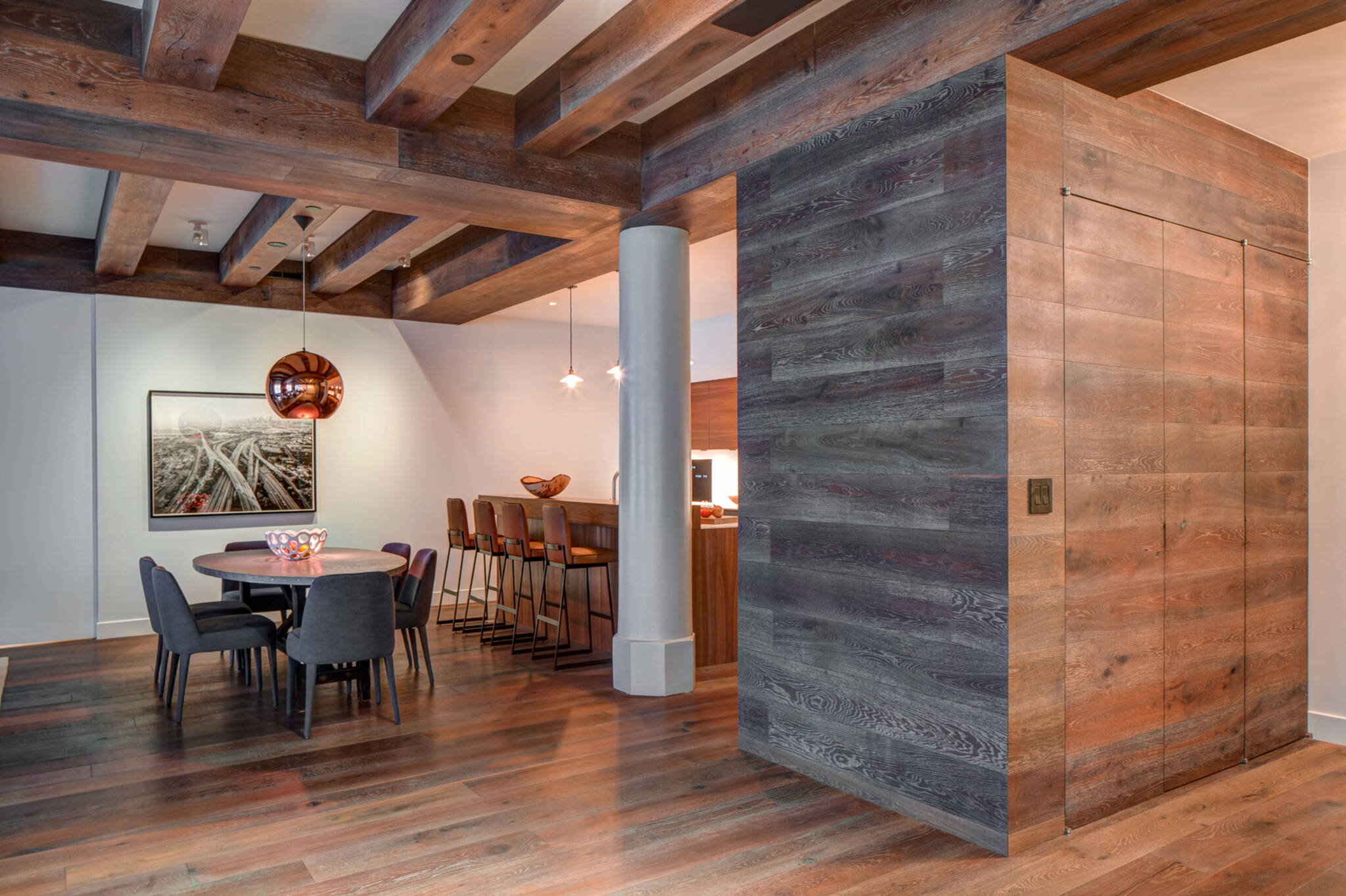 Dining area of the loft renovation project in Union Square, New York City designed by the architecture studio Danny Forster & Architecture