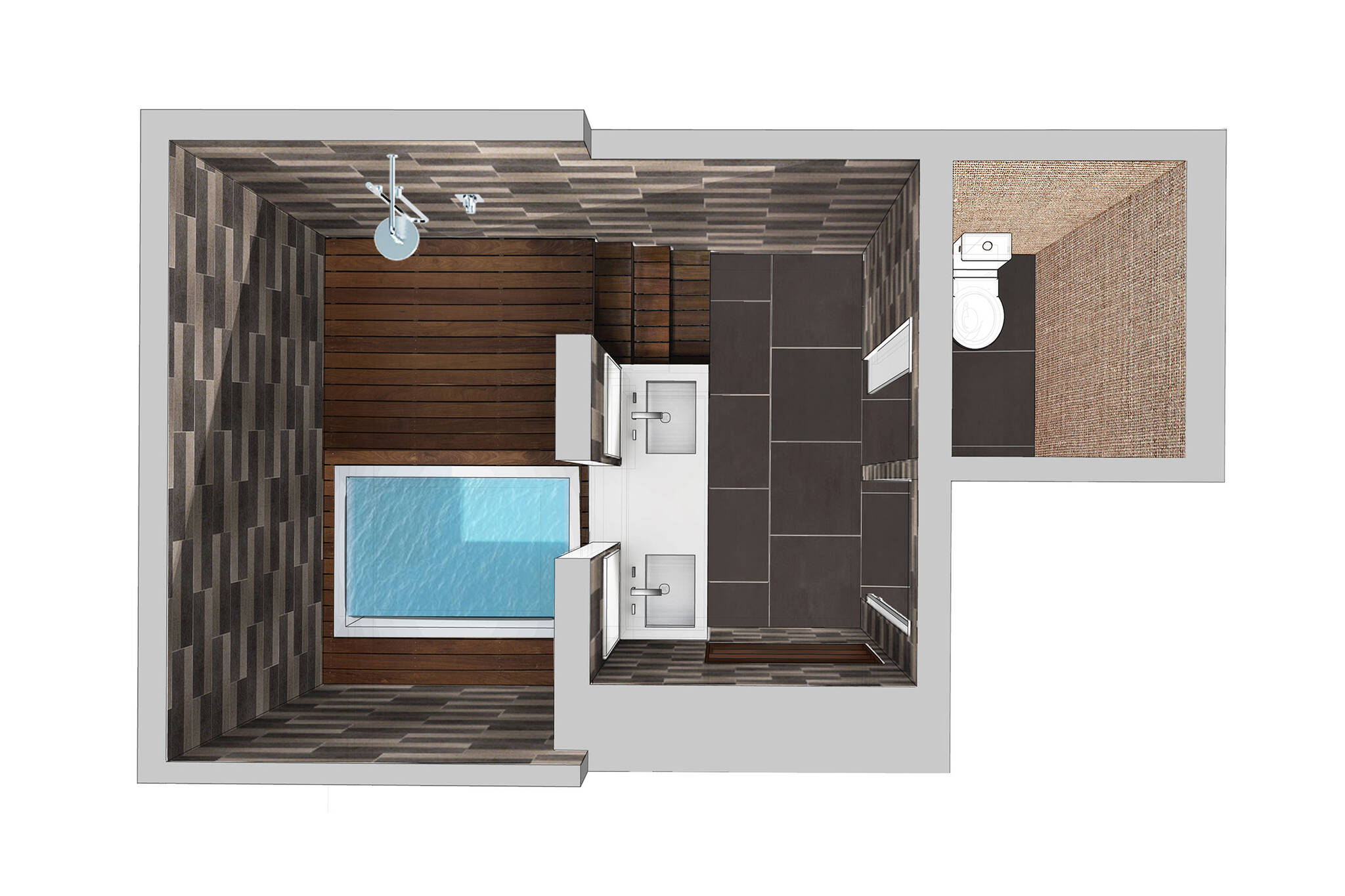 3D top view of the master bathroom of the loft renovation project in Union Square, New York City designed by the architecture studio Danny Forster & Architecture