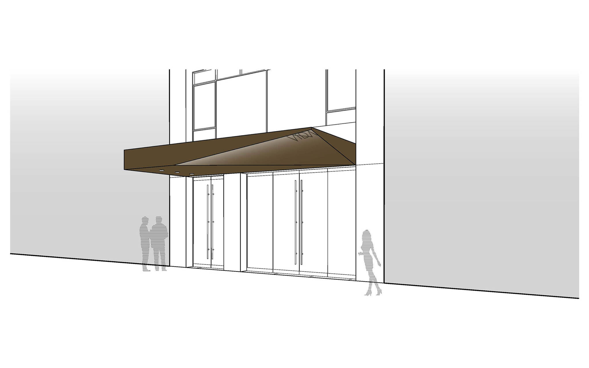 Sidewalk diagram of the Vida Shoes International canopy project for the shop located at 29 West 56th Street in Midtown, New York City designed by the architecture studio Danny Forster & Architecture