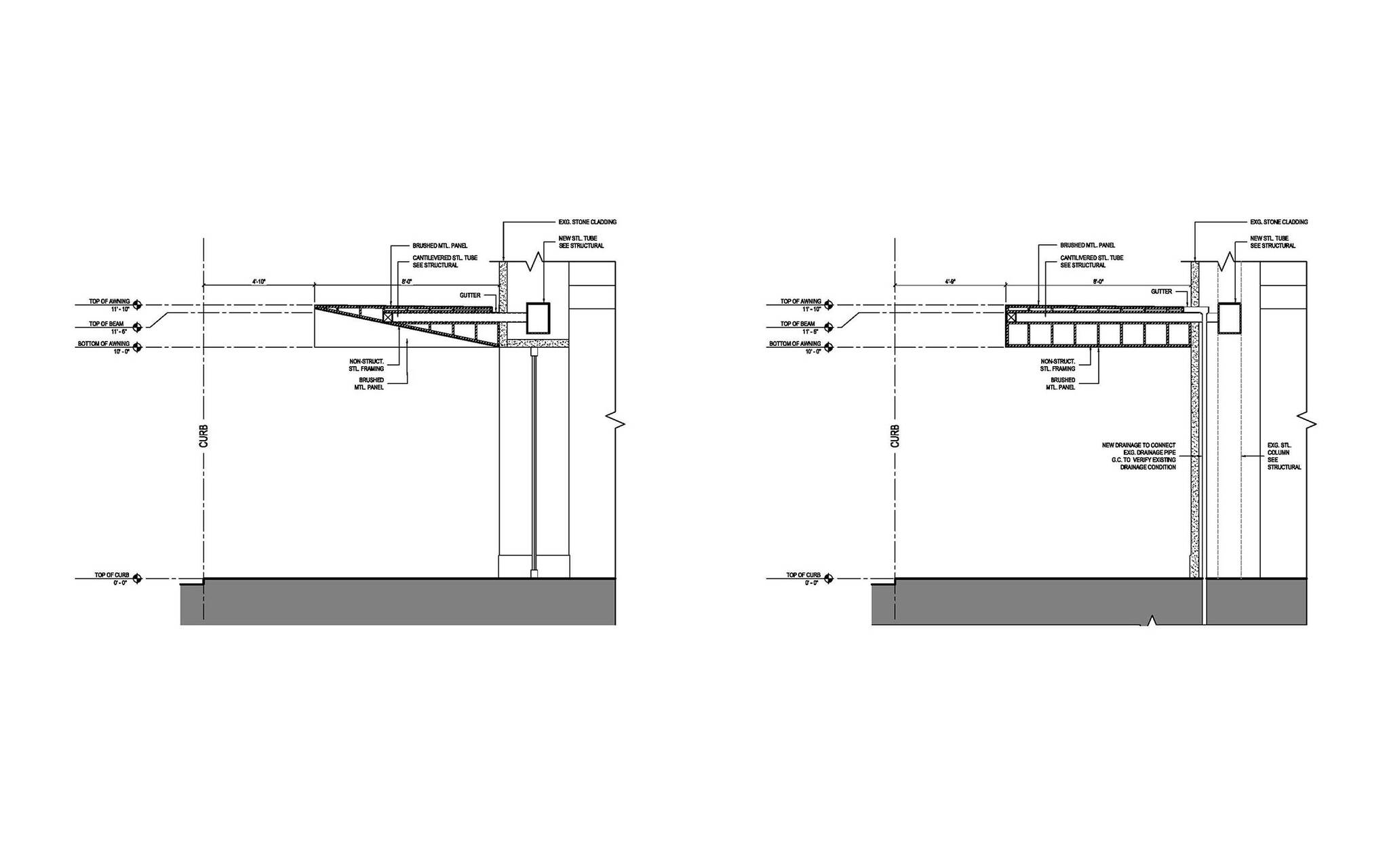 Section diagram of the Vida Shoes International canopy project for the shop located at 29 West 56th Street in Midtown, New York City designed by the architecture studio Danny Forster & Architecture