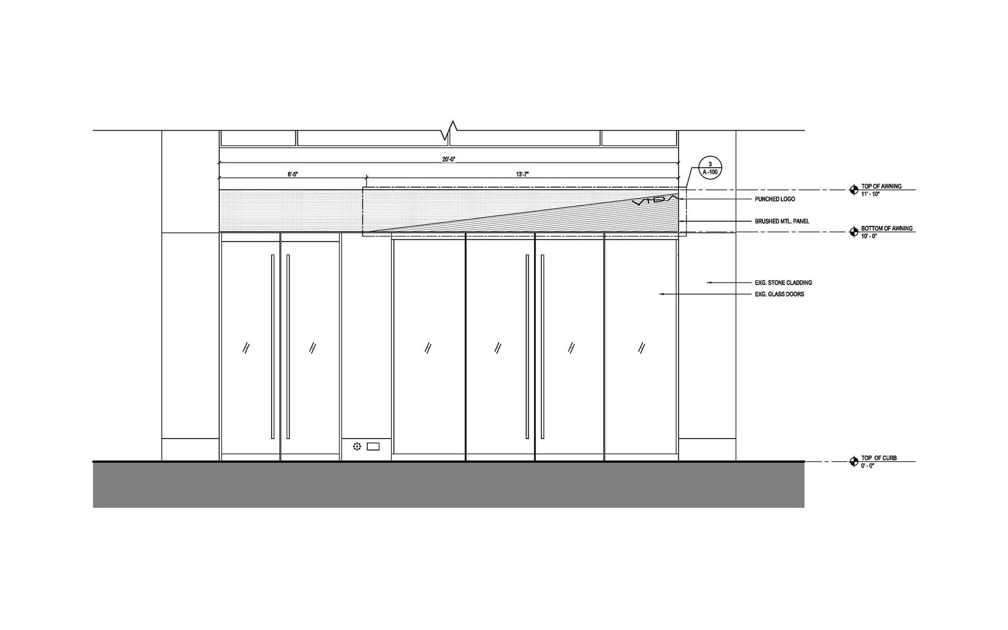 Front view plan of the Vida Shoes International canopy project for the shop located at 29 West 56th Street in Midtown, New York City designed by the architecture studio Danny Forster & Architecture