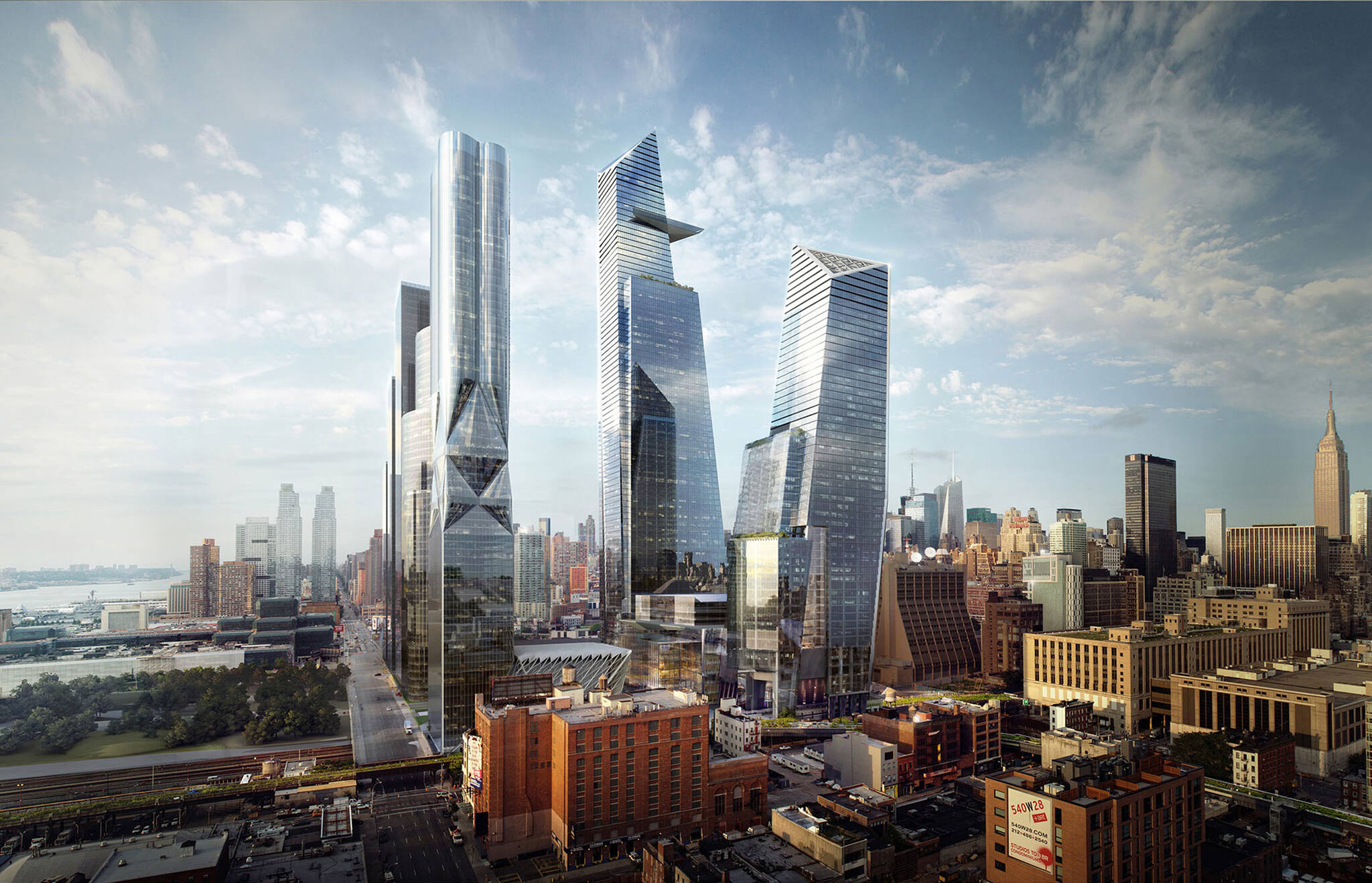 Aerial view of the surrounding buildings of the Hudson Yards Autograph Hotel project by Marriott, a modular hotel tower located at 432 West 31st Street in Hudson Yards, New York City designed by the architecture studio Danny Forster & Architecture