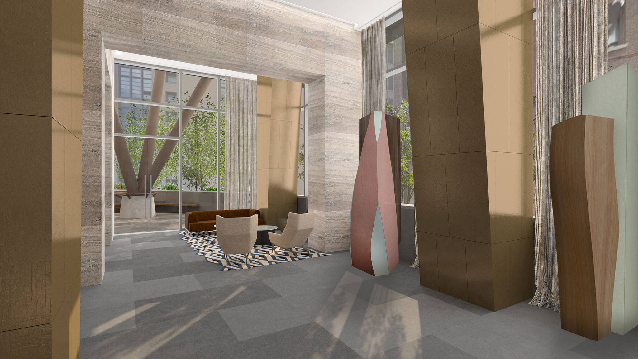 Lobby detail of the Hudson Yards Autograph Hotel project by Marriott, a modular hotel tower located at 432 West 31st Street in Hudson Yards, New York City designed by the architecture studio Danny Forster & Architecture
