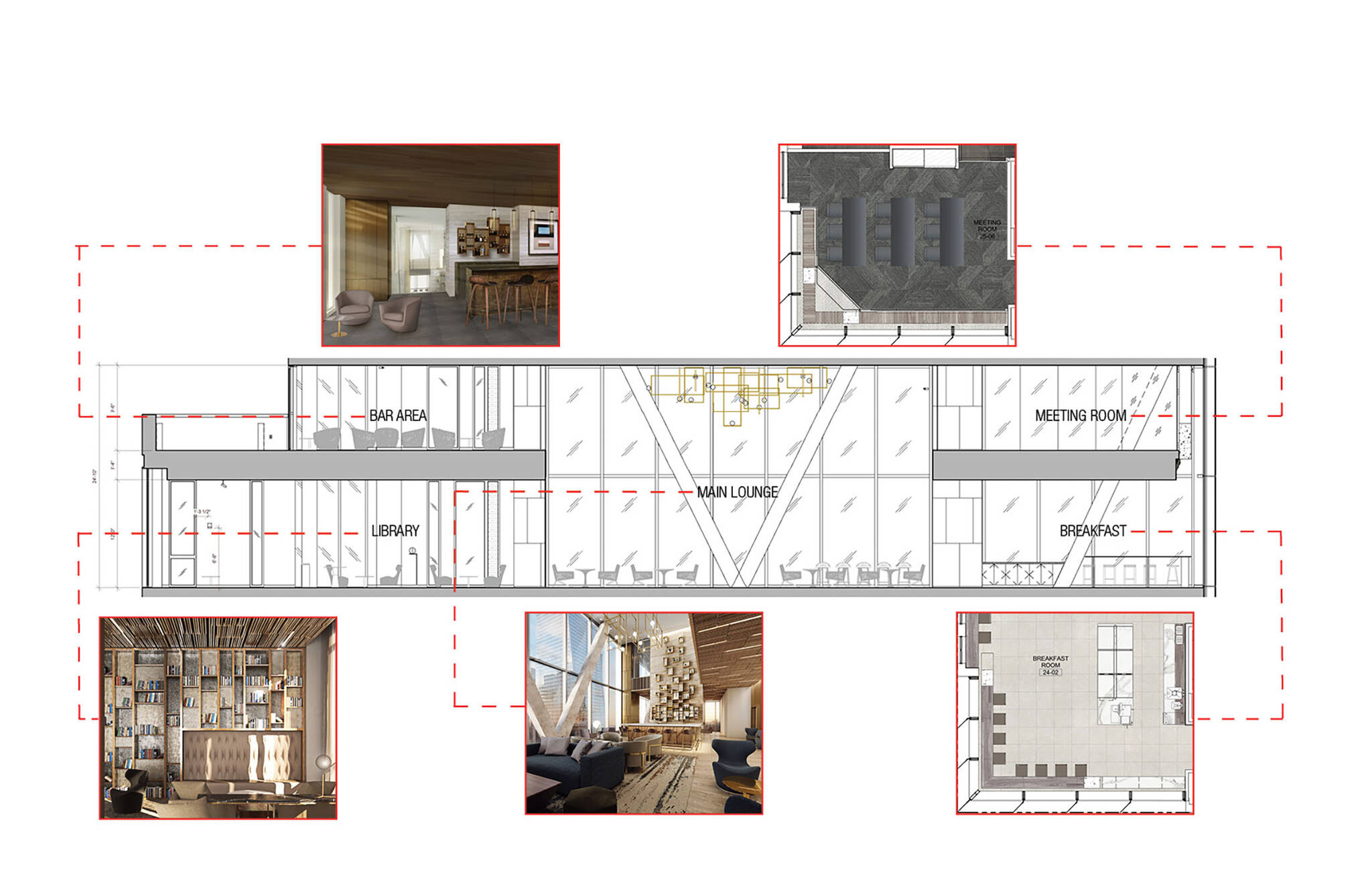 Amenities section diagram of the Hudson Yards Autograph Hotel project by Marriott, a modular hotel tower located at 432 West 31st Street in Hudson Yards, New York City designed by the architecture studio Danny Forster & Architecture
