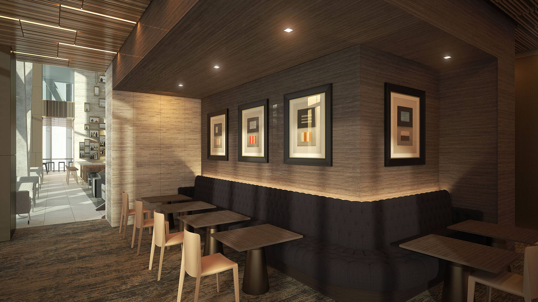 Banquette seating area of the Hudson Yards Autograph Hotel project by Marriott, a modular hotel tower located at 432 West 31st Street in Hudson Yards, New York City designed by the architecture studio Danny Forster & Architecture