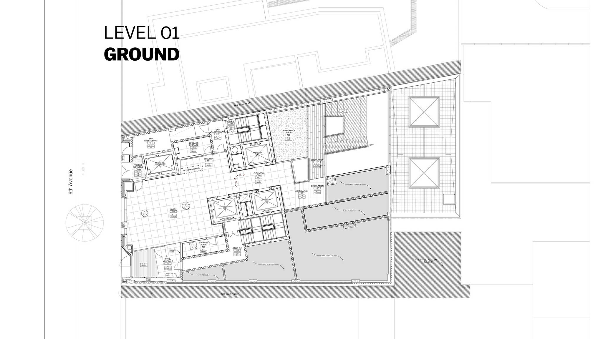 Ground floor plan of the Modular AC Hotel project located at 842 Sixth Avenue in NoMad, New York City designed by the architecture studio Danny Forster & Architecture