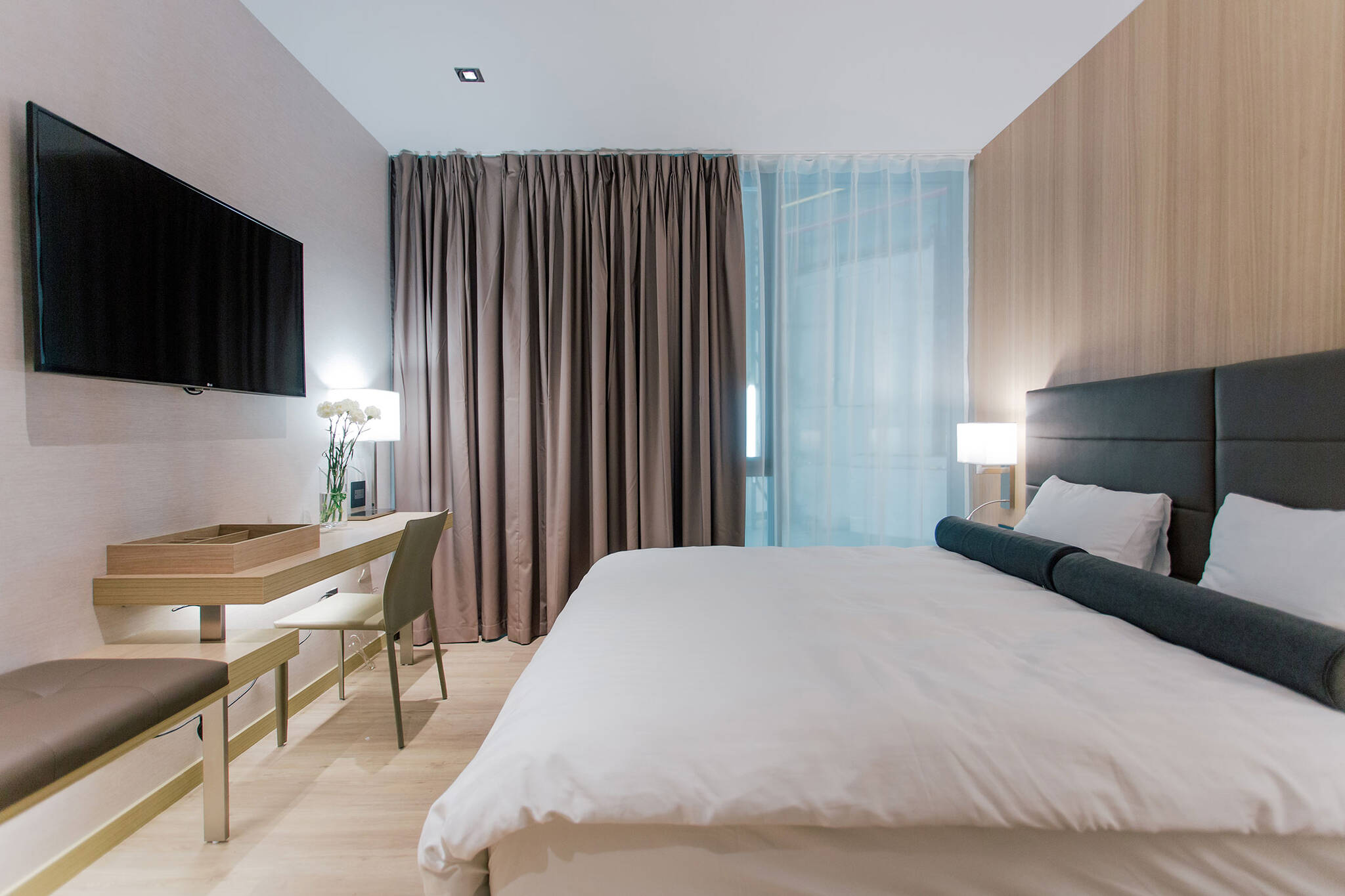 Interior of a guestroom module of the Modular AC Hotel project located at 842 Sixth Avenue in NoMad, New York City designed by the architecture studio Danny Forster & Architecture