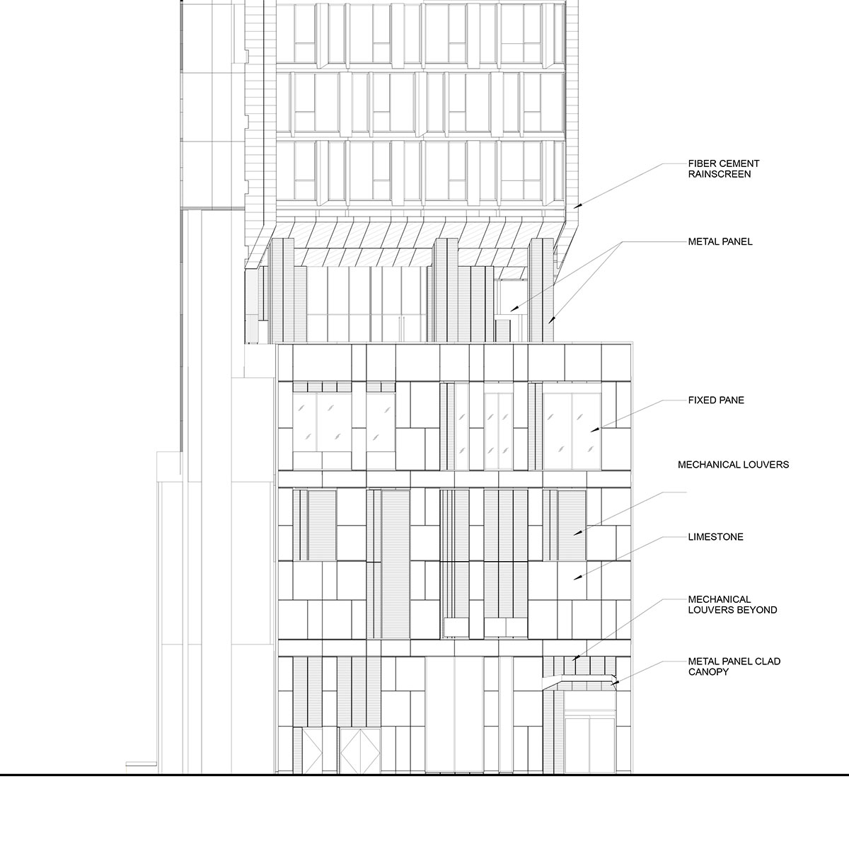 West facade elevation view of the Modular AC Hotel project located at 842 Sixth Avenue in NoMad, New York City designed by the architecture studio Danny Forster & Architecture