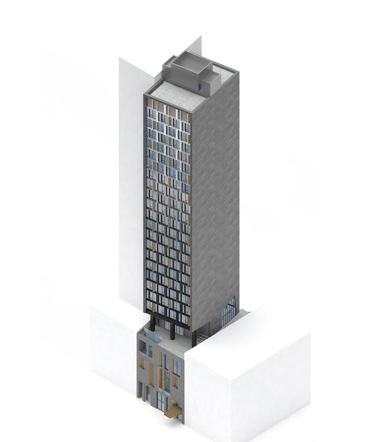Axonometric view of the Modular AC Hotel project located at 842 Sixth Avenue in NoMad, New York City designed by the architecture studio Danny Forster & Architecture