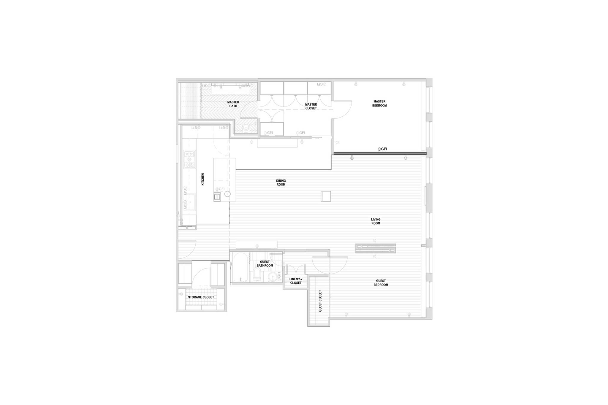 Plan view of the Loft renovation project in Chelsea, New York City designed by the architecture studio Danny Forster & Architecture