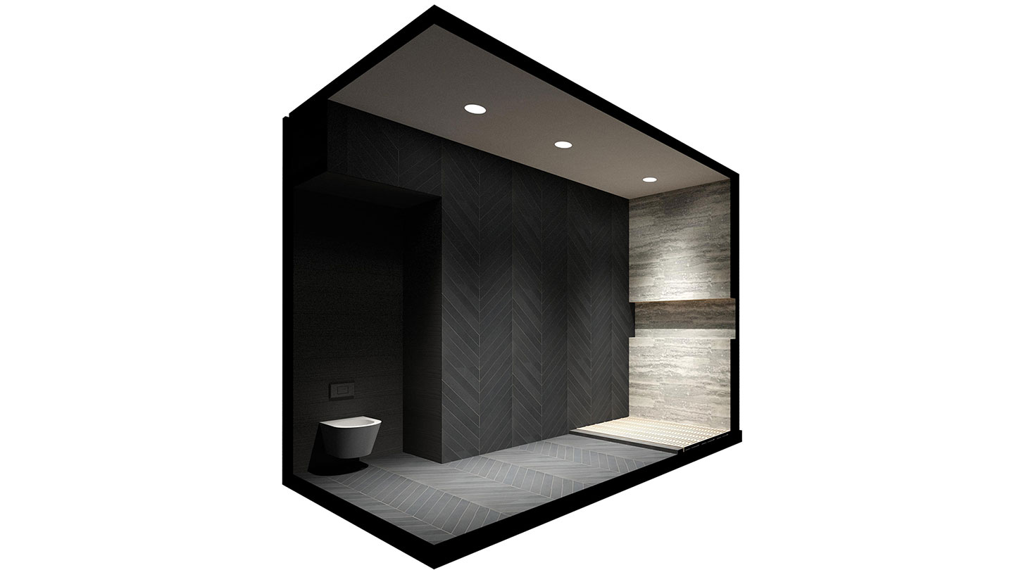 Isometric architectural rendering of the master bathroom of the Loft renovation project in Chelsea, New York City designed by the architecture studio Danny Forster & Architecture