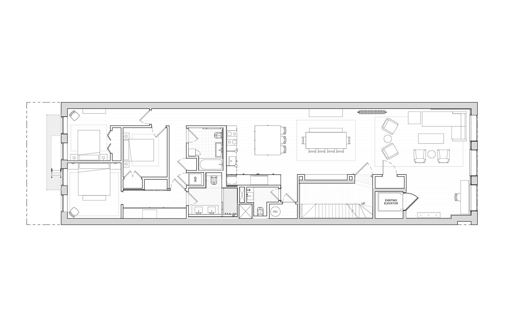 Site plan of the Residence renovation project on the East Side of Manhattan, New York City designed by the architecture studio Danny Forster & Architecture