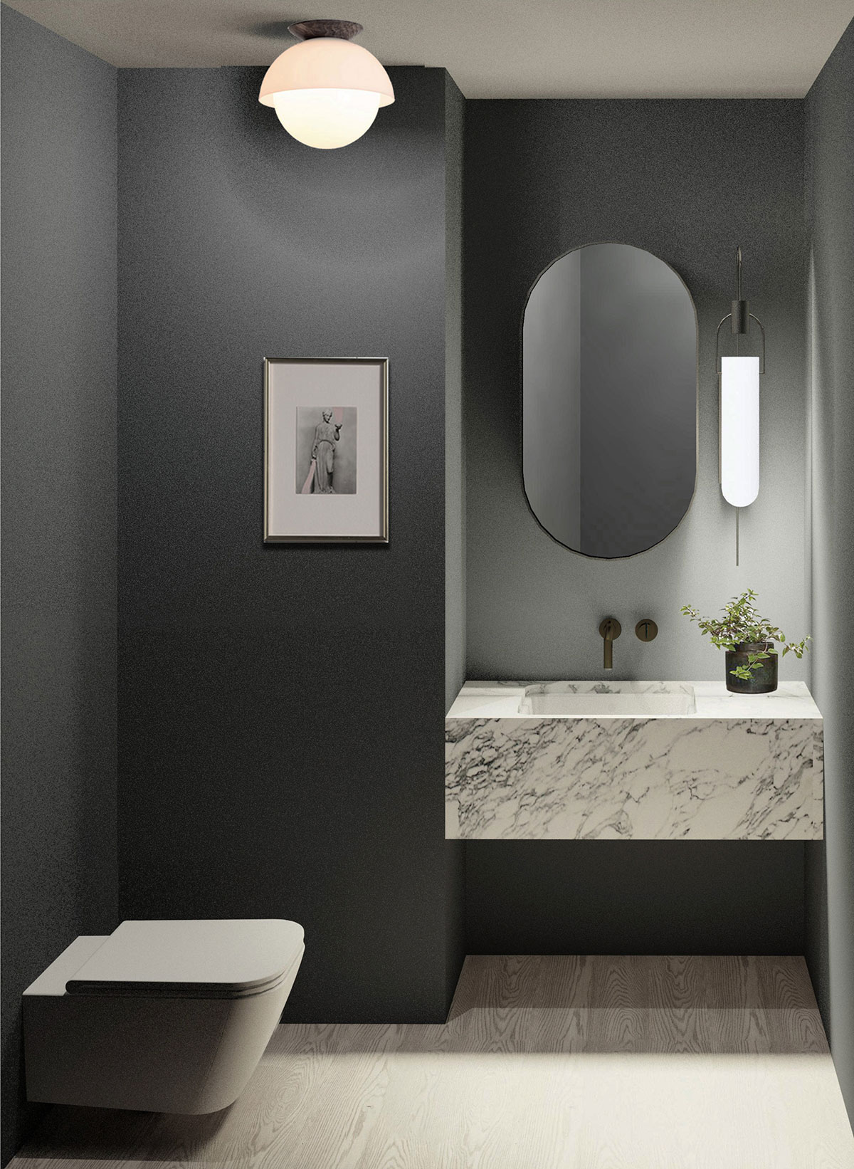 Guest bathroom of the Residence renovation project on the East Side of Manhattan, New York City designed by the architecture studio Danny Forster & Architecture