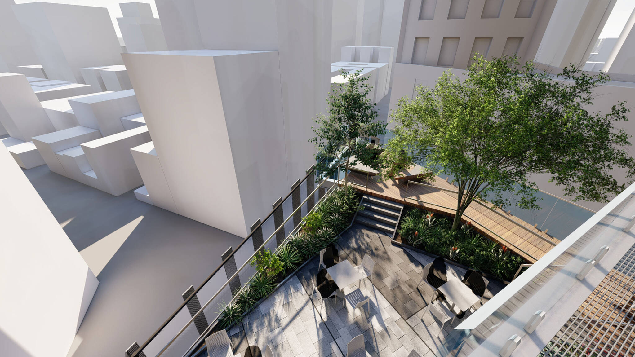 Aerial view of the terrace of the San Francisco modular project located at 570 Market Street on the Financial District of San Francisco, California designed by the architecture studio Danny Forster & Architecture