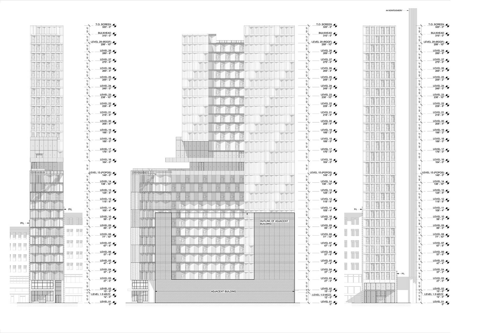 Levels diagram of the San Francisco modular project located at 570 Market Street on the Financial District of San Francisco, California designed by the architecture studio Danny Forster & Architecture