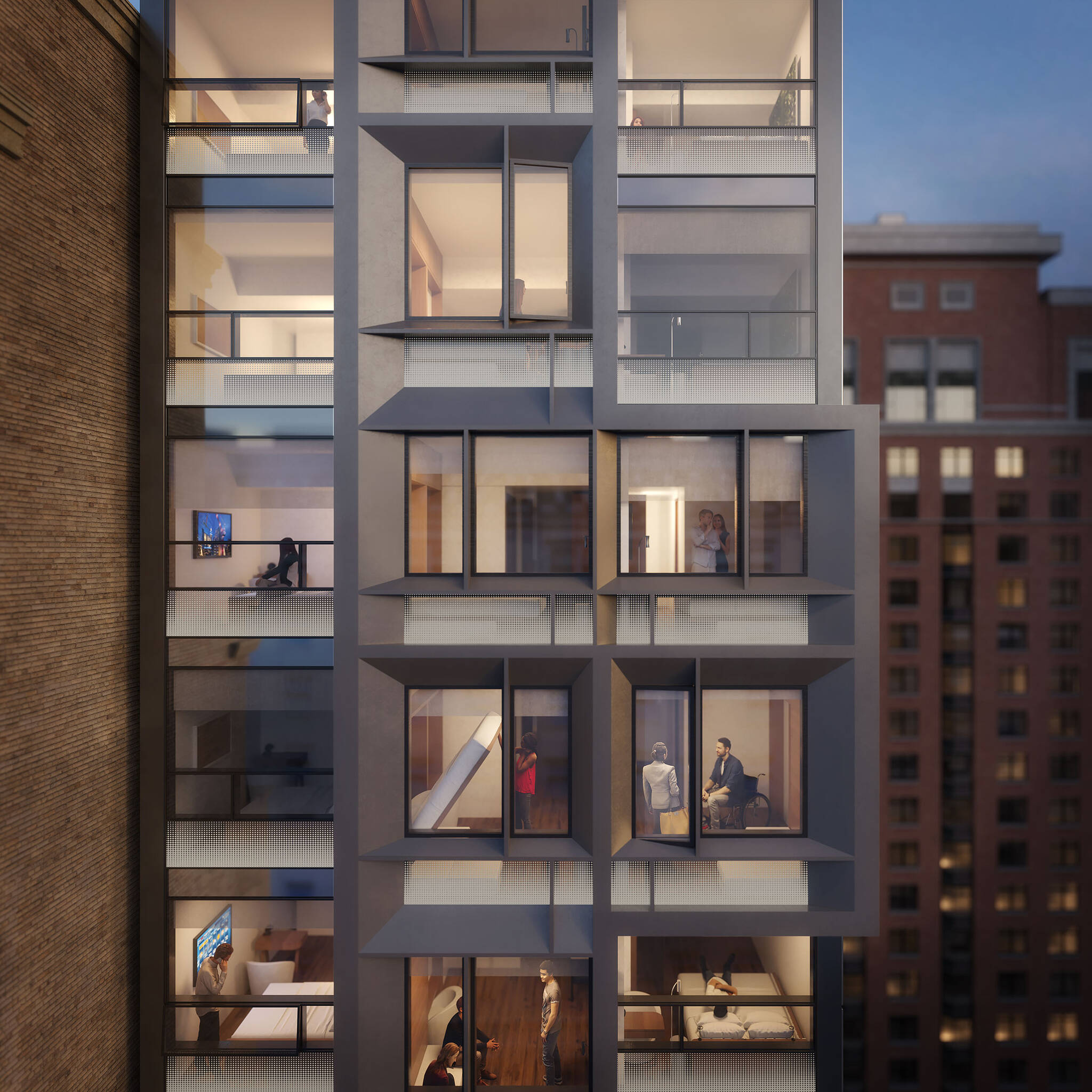 View from outside of the Brooklyn Motto Hotel project on Schermerhorn Street in Brooklyn, New York designed by the architecture studio Danny Forster & Architecture
