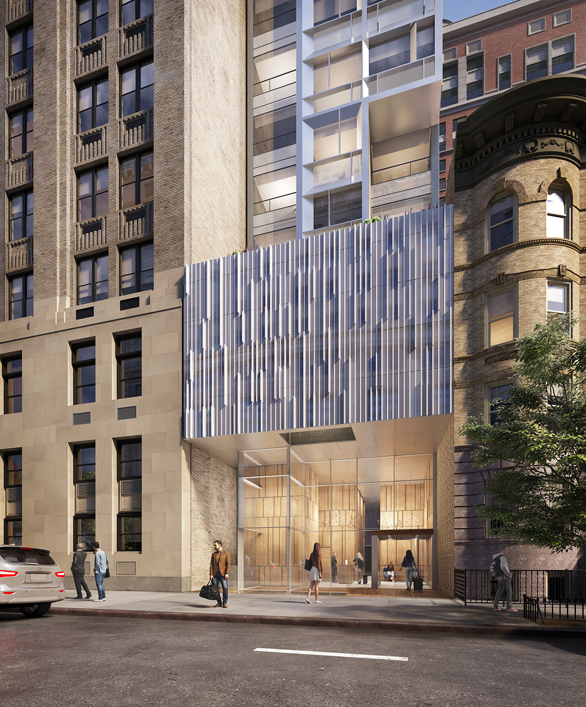 Podium of the Brooklyn Motto Hotel project, a modular hotel tower on Schermerhorn Street in Brooklyn, New York designed by the architecture studio Danny Forster & Architecture