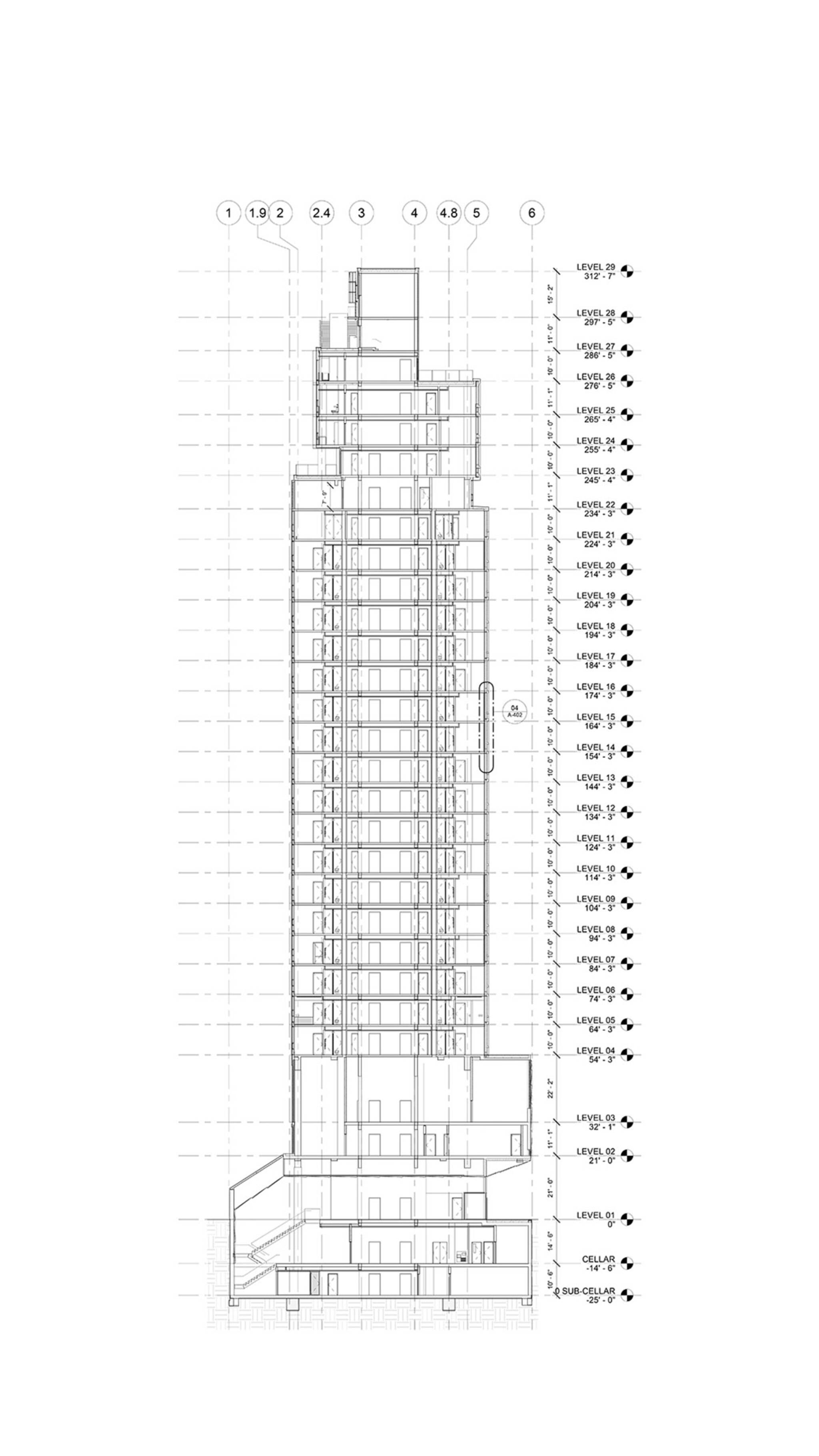 Building section of the Brooklyn Motto Hotel project, a modular hotel tower on Schermerhorn Street in Brooklyn, New York designed by the architecture studio Danny Forster & Architecture