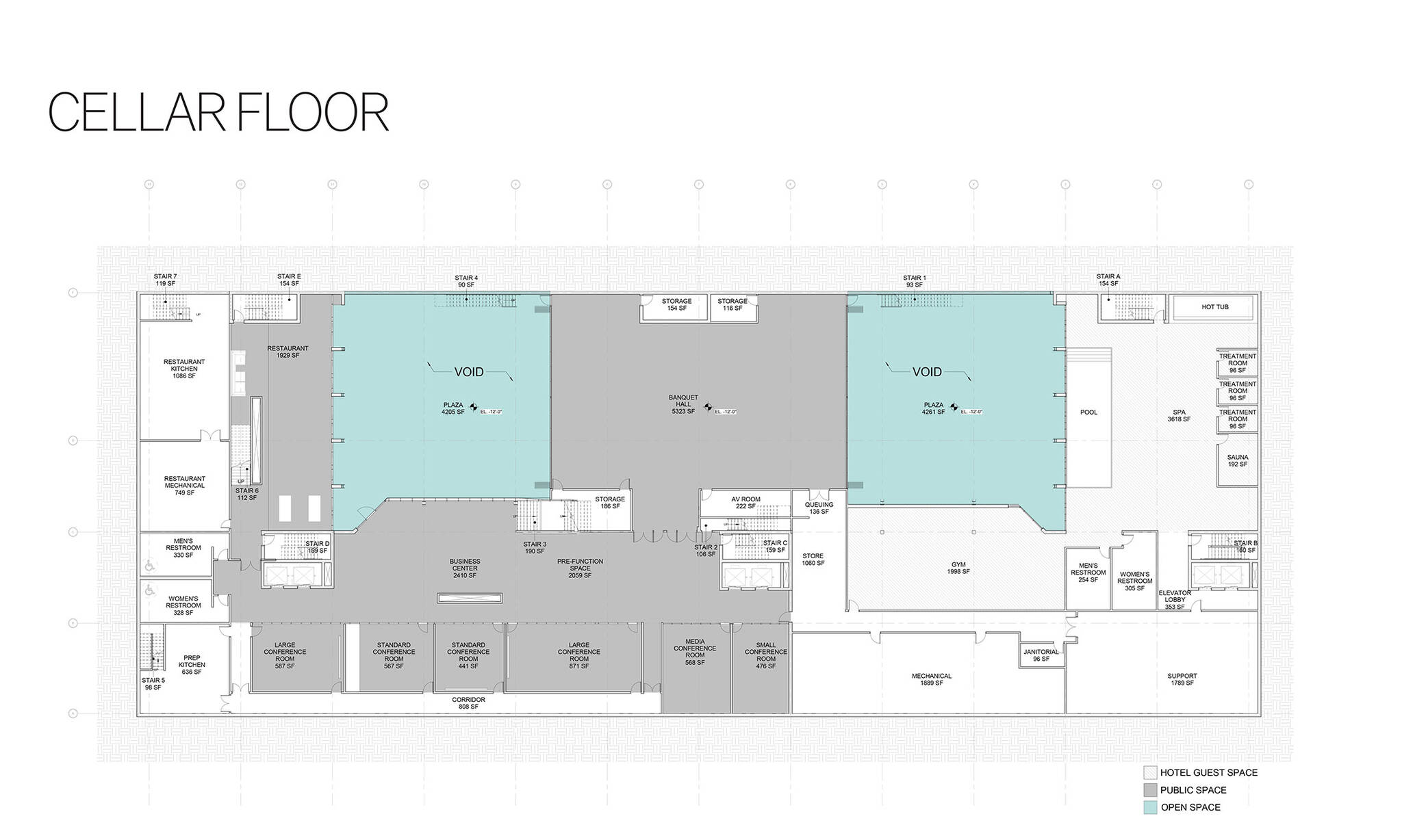 Cellar floor plan of the Jericho Plaza Hotel project in Jericho, New York designed by the architecture studio Danny Forster & Architecture