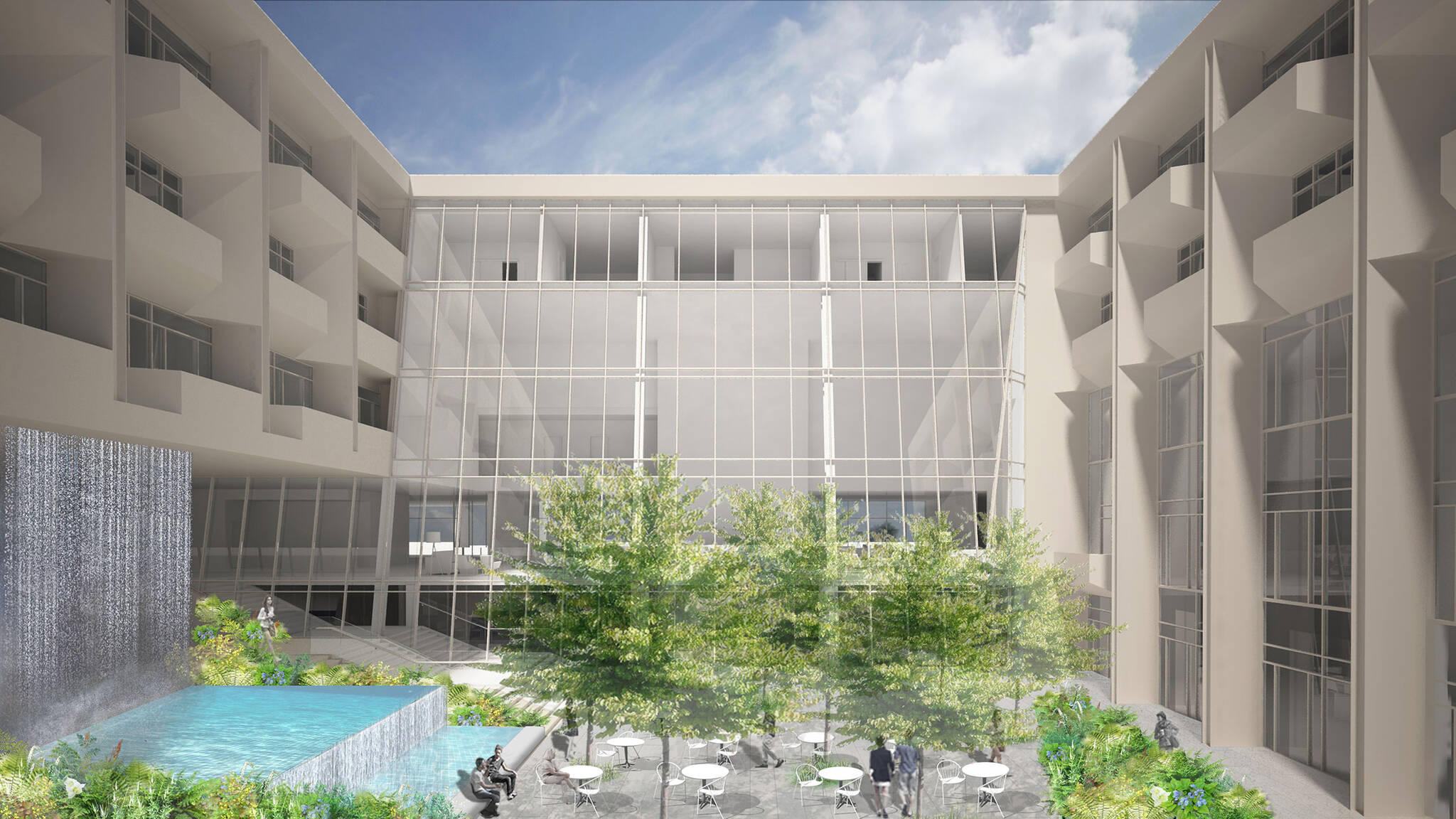 Courtyard of the Jericho Plaza Hotel project in Jericho, New York designed by the architecture studio Danny Forster & Architecture