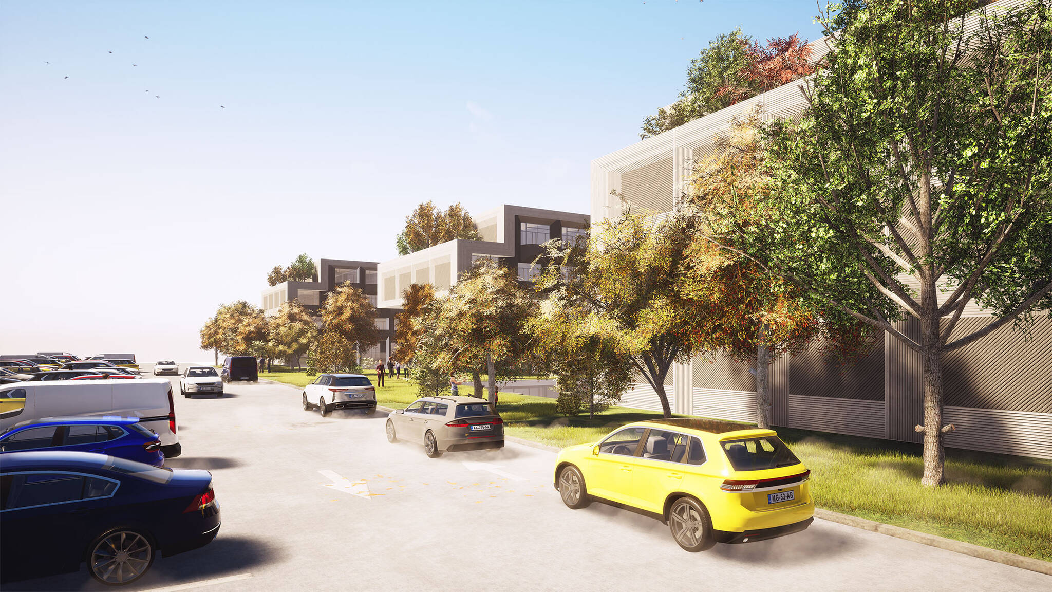 Parking lot rendering of the Jericho Plaza Hotel project in Jericho, New York designed by the architecture studio Danny Forster & Architecture