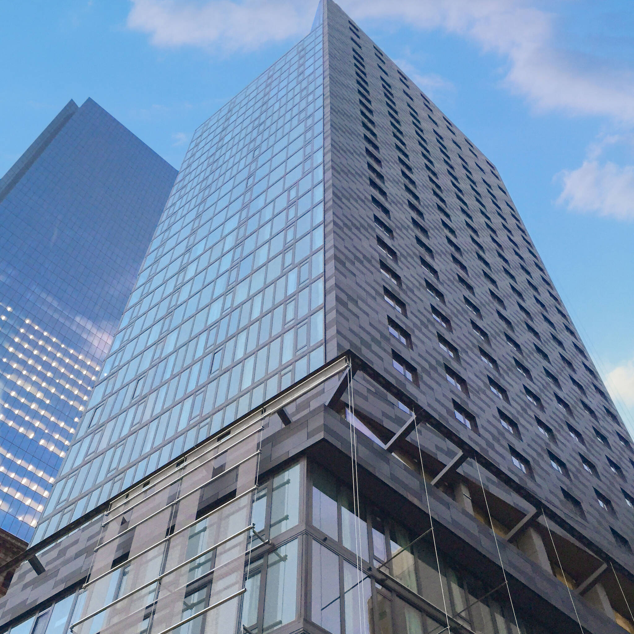 View from below of the World Trade Center Tower Courtyard by Marriott project on the 133 Greenwich street in Downtown Manhattan designed by the architecture studio Danny Forster & Architecture
