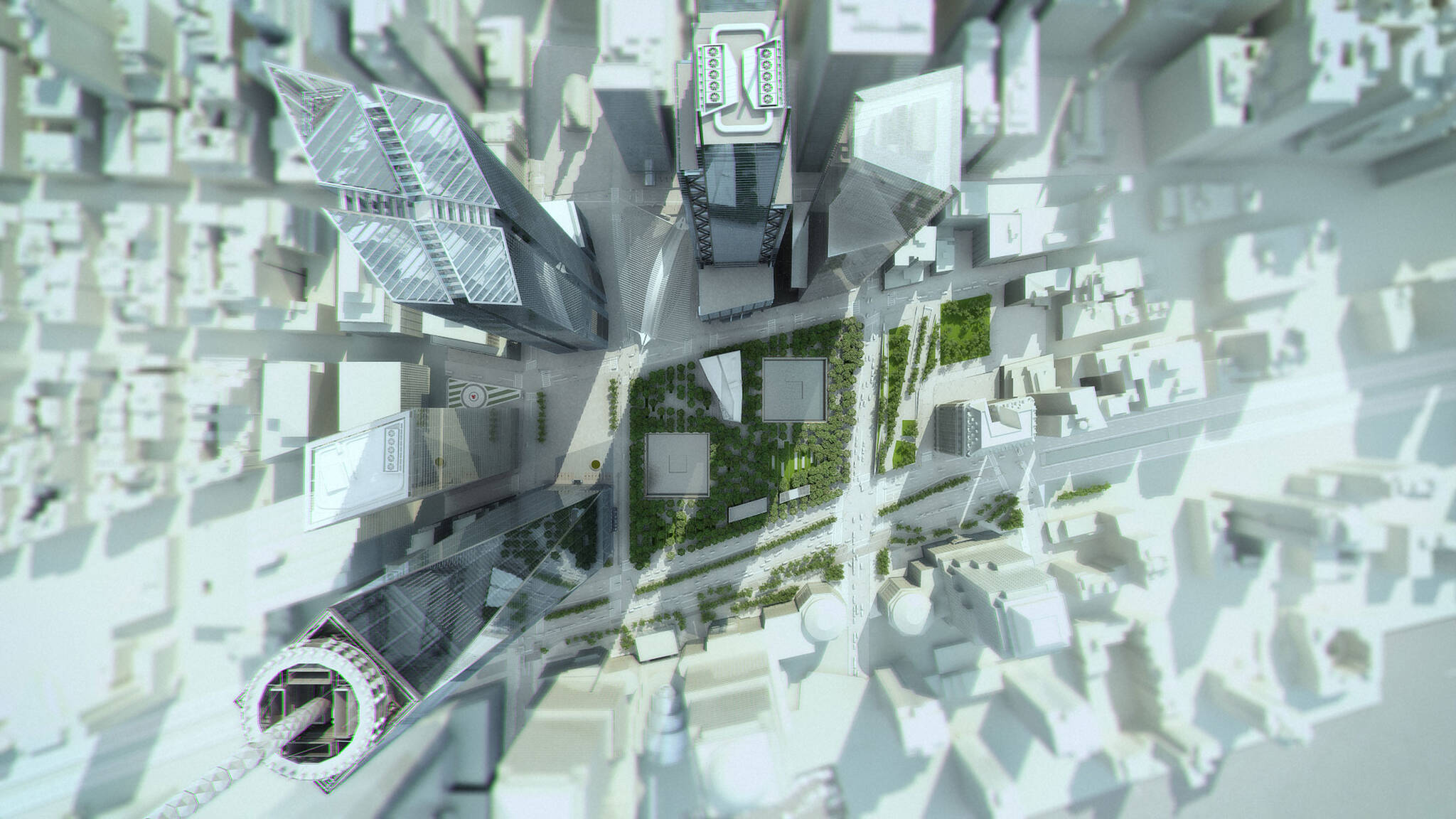 Architectural rendering of the aerial view of the 9/11 Memorial Plaza, the One World Trade Center, Two, Three and Four, the Oculus and the Courtyard by Marriott project on the 133 Greenwich street in Downtown Manhattan designed by the architecture studio Danny Forster & Architecture