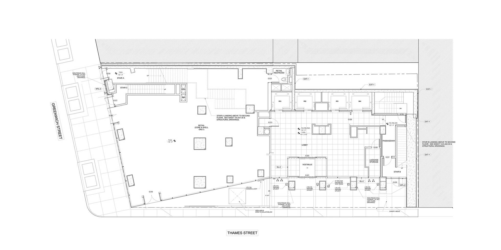 Ground floor plan of the World Trade Center Tower Courtyard by Marriott project on the 133 Greenwich street in Downtown Manhattan designed by the architecture studio Danny Forster & Architecture