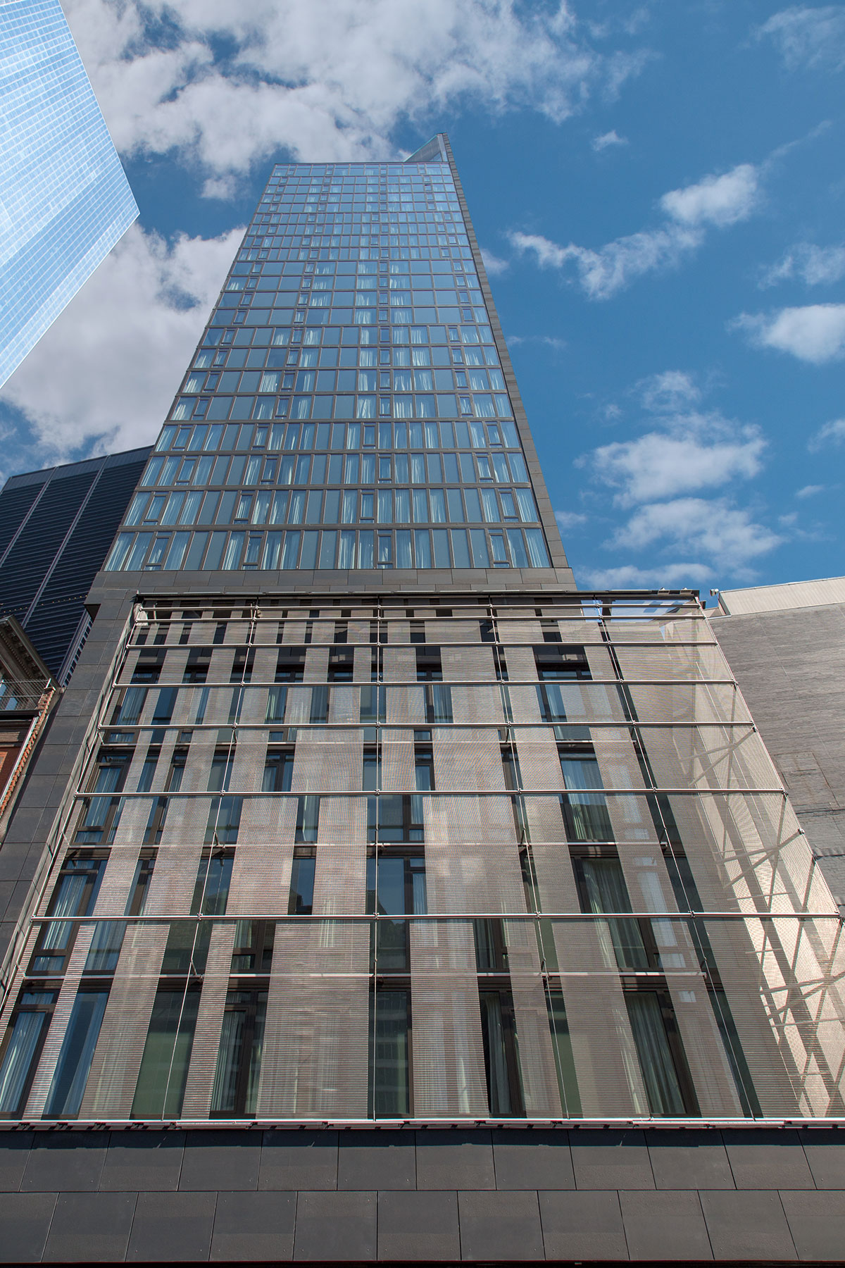 View from the entrance of the World Trade Center Tower Courtyard by Marriott project on the 133 Greenwich street in Downtown Manhattan designed by the architecture studio Danny Forster & Architecture