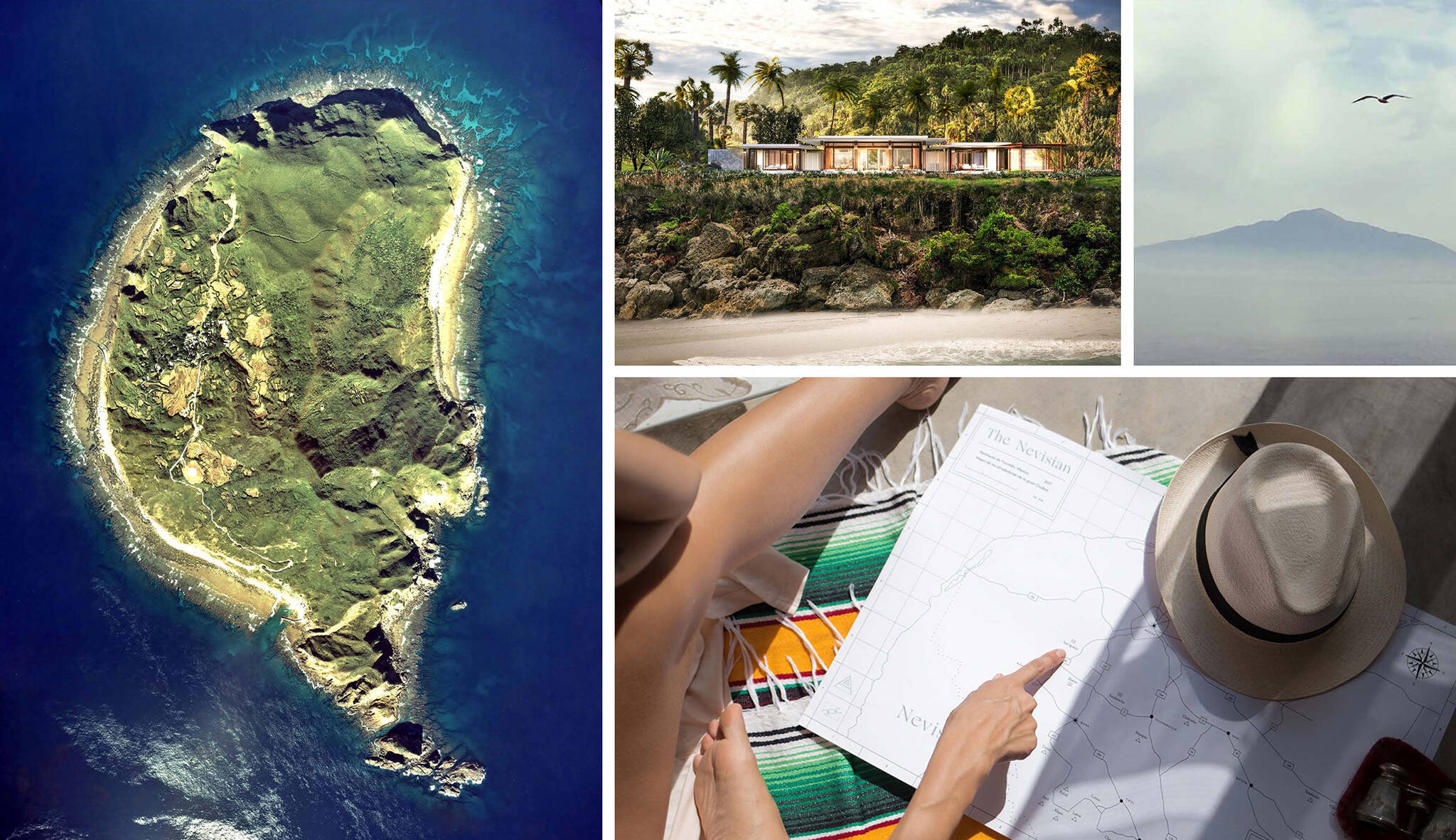 Moodboard of the look and feel of the Nevisian Luxury Resort project designed by the architecture studio Danny Forster & Architecture. A luxury resort with restaurants, villas, spas, a conference center, and the world's first 5-star modular hotel located in Nevis island in the Lesser Antilles