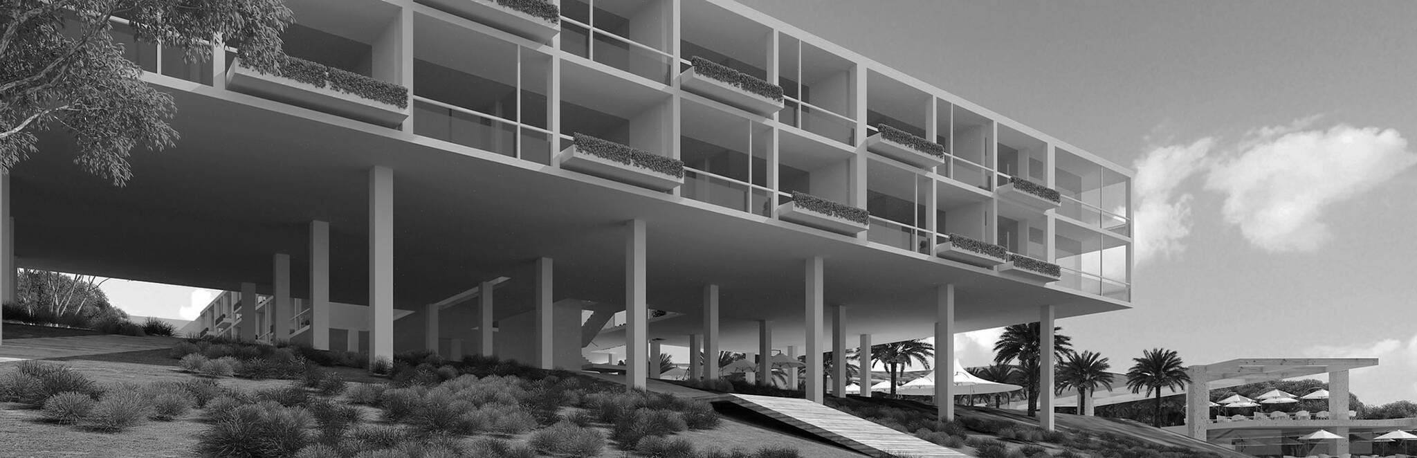 Panoramic view of one of the structures on the Nevisian Luxury Resort project designed by the architecture studio Danny Forster & Architecture. A luxury resort with restaurants, villas, spas, a conference center, and the world's first 5-star modular hotel located in Nevis island in the Lesser Antilles