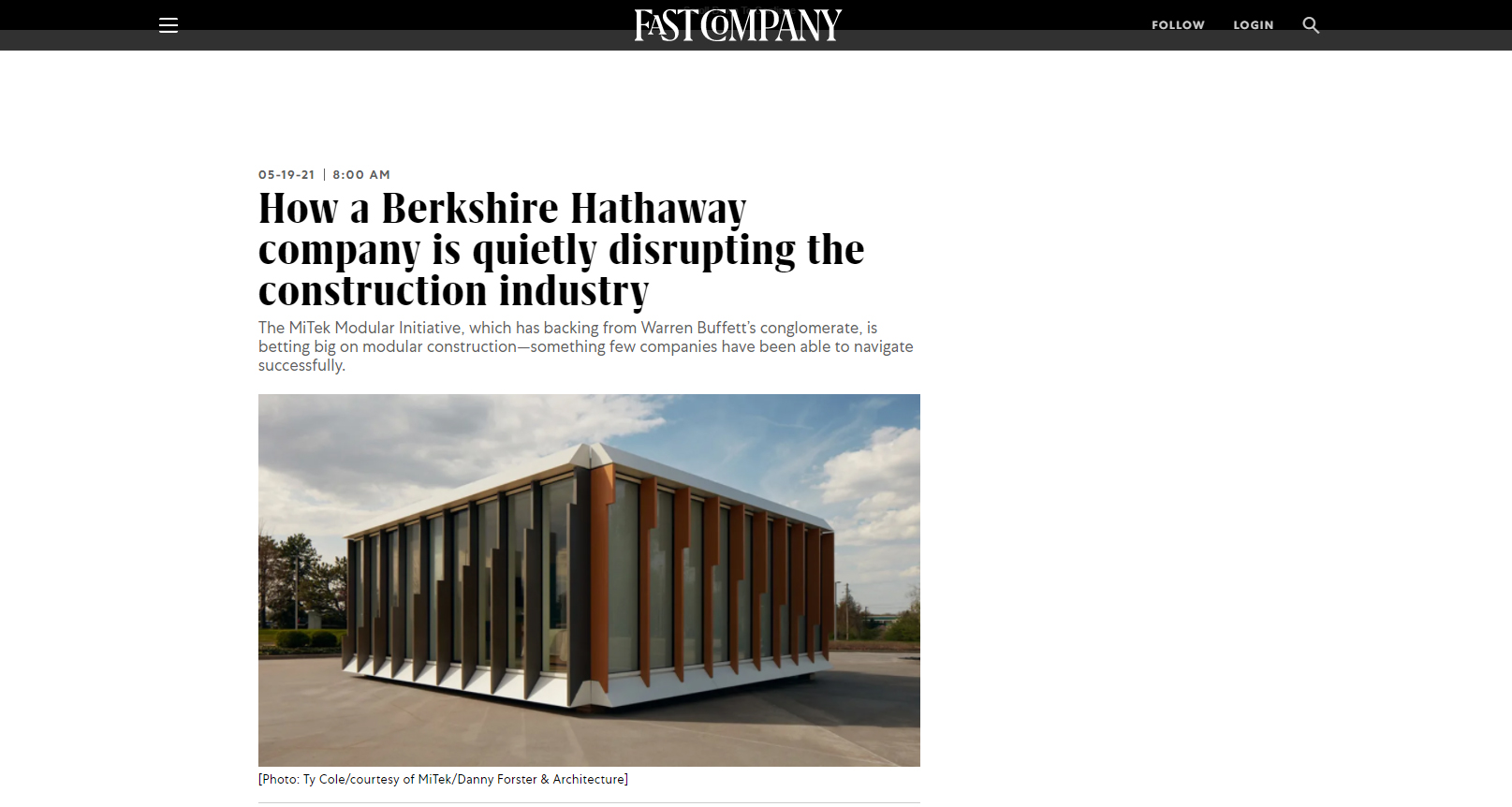 """Article on Fast Company """"How a Berkshire Hathaway company is quietly disrupting the construction industry"""""""